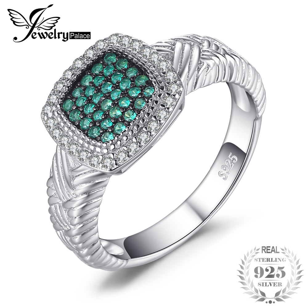 JewelryPalace Round Created Emerald Cocktail Ring Solid 925 Sterling Silver Fine Jewelry Party Rings For Women Best GiftJewelryPalace Round Created Emerald Cocktail Ring Solid 925 Sterling Silver Fine Jewelry Party Rings For Women Best Gift