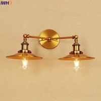 IWHD الذهب خمر وحدة إضاءة LED جداريّة أضواء تركيبات الإضاءة المنزلية تعديل الذراع الصناعية الجدار الشمعدان مصباح اديسون يندبروف الإنارة|مصابيح الجدار الداخلي LED|   -