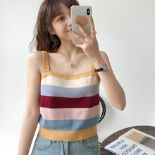 Fashion Knitted Striped Cami Crop Top Women Patchwork Color Summer Beach Wear Sexy Vest Casual Fitness Sleeveless Basic Camisole striped crop cami top