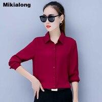 Mikialong 새로운 2018 캐주얼 솔리드 쉬폰 블라우스 여성 사무실 작업 착용 긴 소매 셔츠 여성 플러스 사이즈 탑 Chemisier 팜므