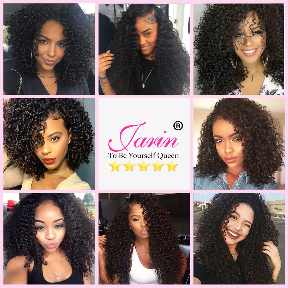 JARIN Peruvian Kinky Curly Hair Weave 3 Bundles With Closure Human Hair Weaving With 4*4 Lace Closure Top Remy Peruvian Hair
