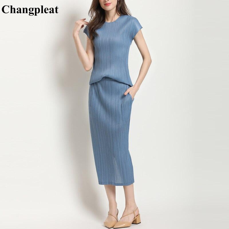 Chagnpleat 2019 verano nuevo mujeres conjuntos de Miyak falda de moda Camisetas cuello redondo + faldas cintura elástica Mujer trajes de dos piezas