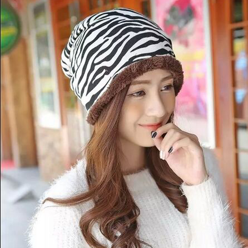 1 PCS Fashionable Hats For Women Add Wool Skullies Winter Outdoor Thermal Knitted Cap 2015 New Zebra Stripes Beanies Wholesale