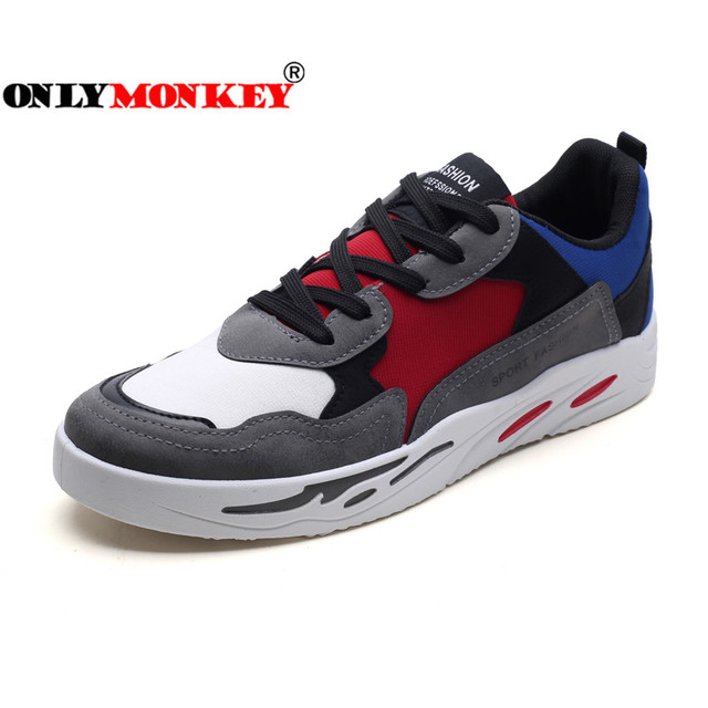 ONLYMONKEY Mixed Colors Mesh Flat Shoes Men Breathable & Soft Insole Men Platform Shoes Fashion Casual Shoes Men Sewing Sneakers
