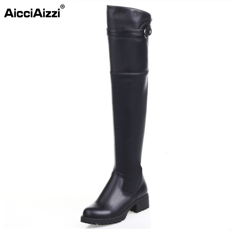 Women Real Natrual Genuine Leather Over Knee Boots Square Low Heel Botas Fashion Zipper Heeled Footwear Shoes Size 34-39 women real natrual genuine leather high heel boots half short feminina botas winter boot footwear shoes r7249 size 34 39