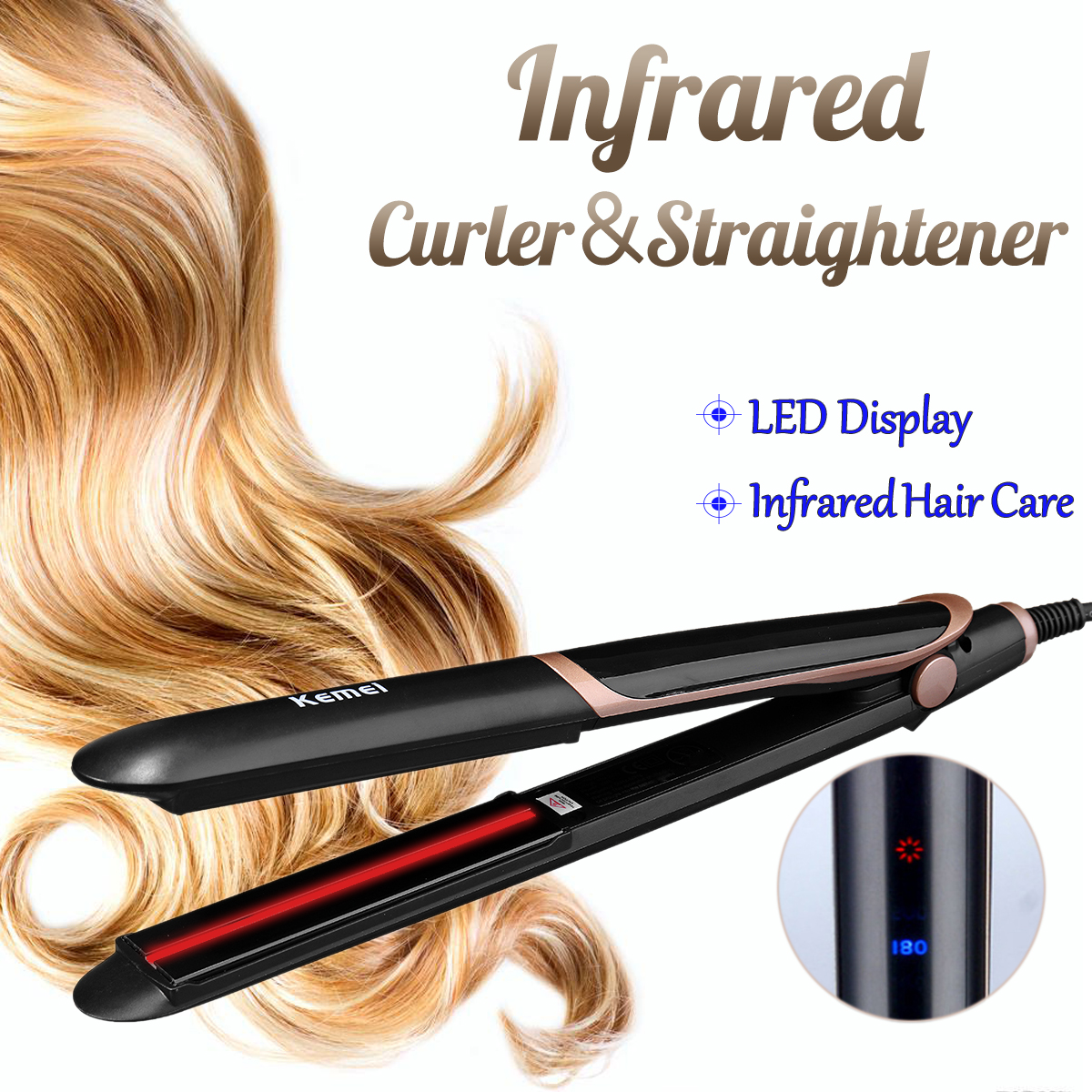 2 in1 Infrared Flat Iron Curler Professional Anion Hair Straightener Straightening Curling Iron 3D Floating Plate Lon Perm цена 2017