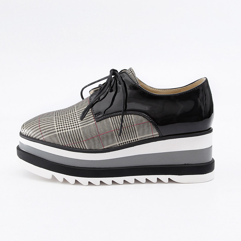 Noir Sneakers Chaussures Black blanc Dropshipping Appartements White Femmes Verni forme plaid plaid Dames Casual Plate Wetkiss Lacet Coins JcKF1Tl