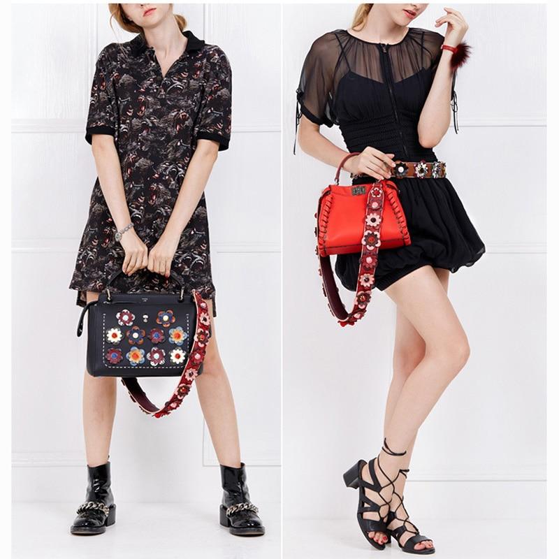 Donalworld Wide Flower Strap Replacement Rivet PU Leather Straps For Handbag Crossbody Shoulder Bag Boho Belt Accessories