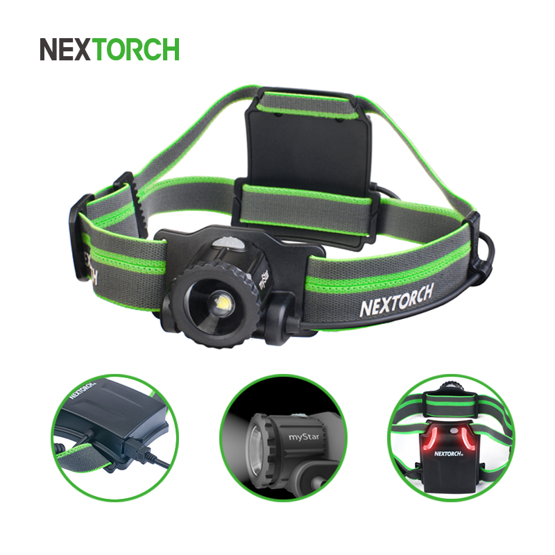 NEXTORCH Head Torch LED 550 lumen High Power LED Headlamp Waterproof USB Rechargeable Adjustable for Camping Running Hunting