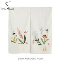 SewCrane Honeycomb Fabric Embroidery Design With Garden Flower Bee Home Restaurant Door Curtain Noren Doorway Room