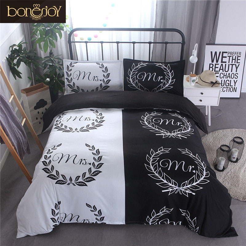 Bonenjoy Mr and Mrs Lover Couples Bedding Set Black and White Color Simple Style Europe Queen