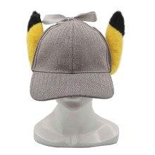 """EMS 20/лот Пикачу 13 """"шляпы для косплея с забавным рисунком Пикачу 3D уши хлопковые Кепки Головные уборы детектив Шерлок игрушечные колпачки"""