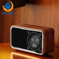 Bluetooth Digital Wireless Alarm clock Woodiness Radio despertador LED display wood table clock electronic modern style