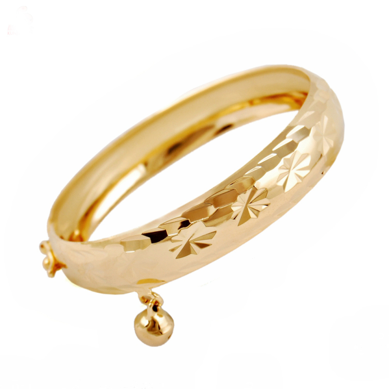 Wholesale Yellow Gold Color Flowers Pattern Engraved Bell Charm 1CM Wide Bracelets & Bangles for Kids Jewelry Bijoux Bigger Size