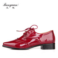 Fanyuan Women Brogues Shoes Vintage Carved Shoes Lace Up Womens Oxfords British Style Pointed Toe Ladies Flat Shoes Black Blue