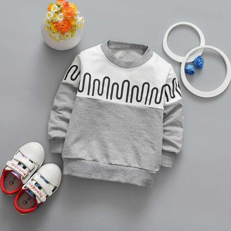 New spring Autumn Casual boys Kids Children patchwork Wave stripe printing Long Sleeve o-neck Baby T-shirt Y2061
