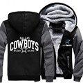 Ножной мяч Печати Pattern Мужчины Женщины Dallas Cowboys Молнию Куртки Сгущает Толстовка Пальто Кофты Руно Clothing Casual