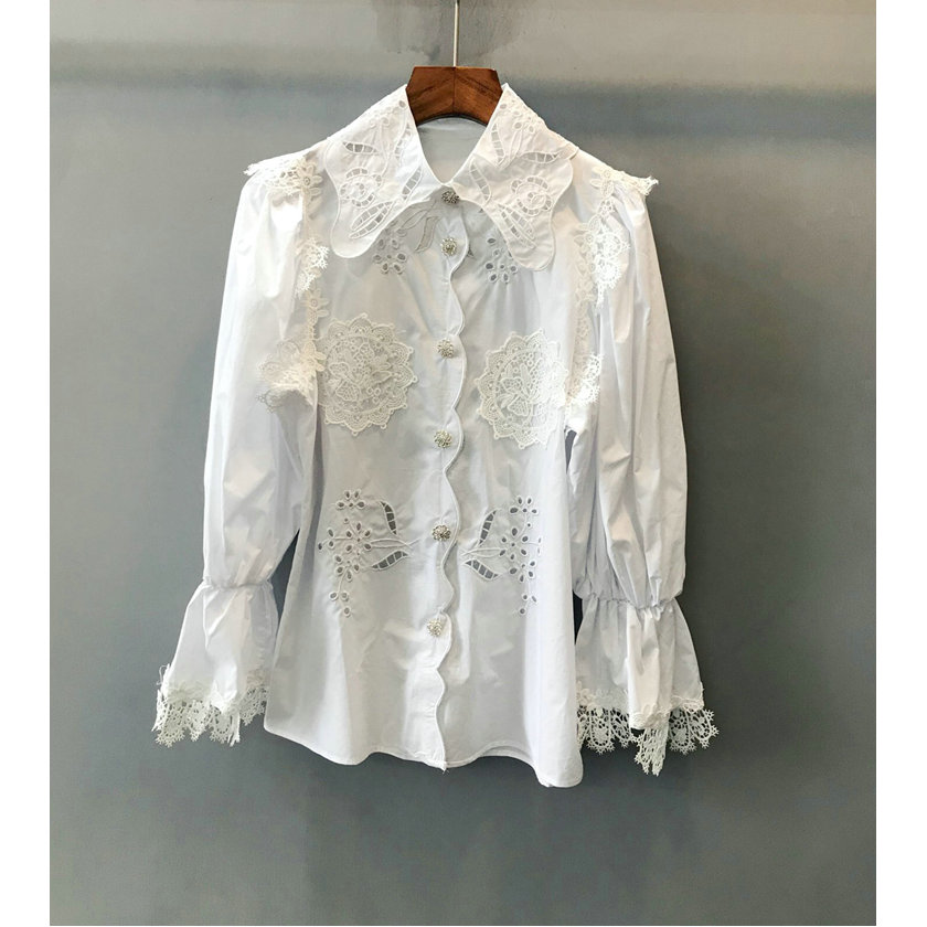 Women's Clothing Cheap Sale New Wear High Quality Embroidery Carved Hollow Nail Drill Row Button Bell Cuff Long Sleeve Shirt Skilful Manufacture
