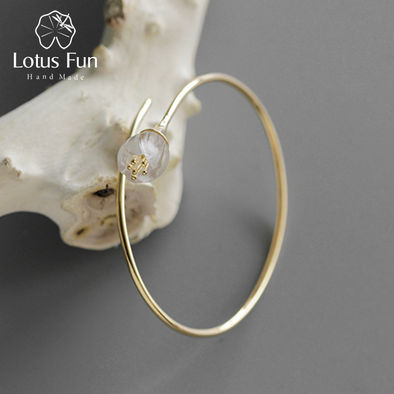 Lotus Plaisir Réel 925 Sterling Argent Cristal Naturel À La Main Designer Fine Bijoux Frais Orchidée Fleur Bracelet pour les Femmes