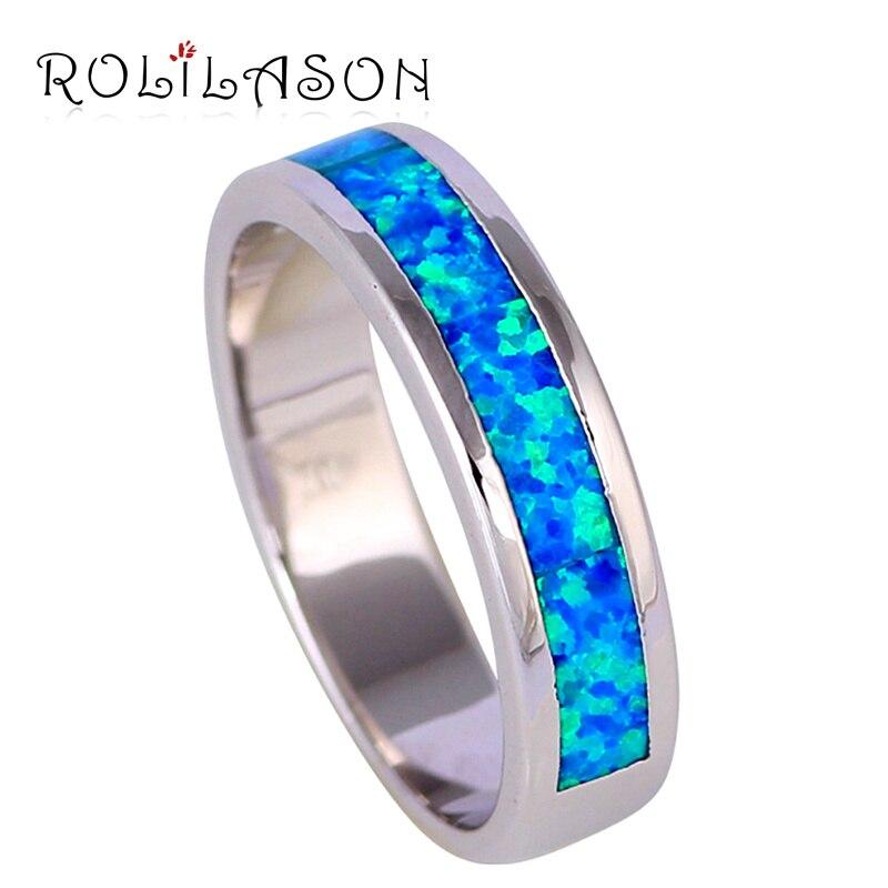 Prix pour Concise conception Au Détail Nouvelle arrivée Bleu Opale de feu Argent Anneaux bijoux de mode USA taille #6.75 #7.75 OR762