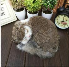 WYZHY Simulation Sleeping Cat Home Jewelry Decoration Creative Gift Fur Crafts 24.5cm X20cm X10cm