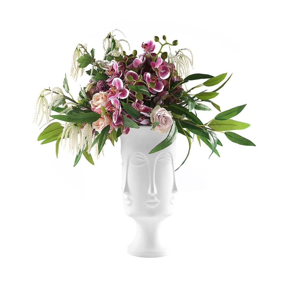 Man Face แจกัน Nordic โมเดิร์นเซรามิคแจกันดอกไม้ดอกไม้หม้อ Planters พืช Home ระเบียงตกแต่งอุปกรณ์เสริม-ใน แจกัน จาก บ้านและสวน บน   1