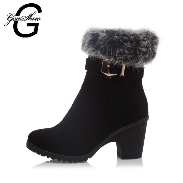GENSHUO Fashion Winter Women Shoes Ankle Boots Sexy Flock Leather Short Plush Faux Fur Cuff Thick Heel Ladies Boots Big Size 43