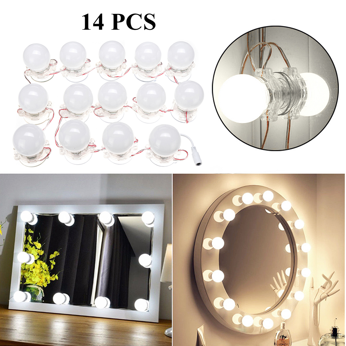 New DIY 14PCS LED Lamp String White Makeup Mirrors Lamp Suction Cosmetic Dressing Salon Barber Shop Dresser Mirror Lighting bob cosmetic makeup powder w puff mirror ivory white 02