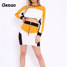 Genuo Patchwork Two Piece Set Autumn Winter Women Color Block Crop Tops Zipper Mini Pencil Skirt Clubwear Casual Tracksuits