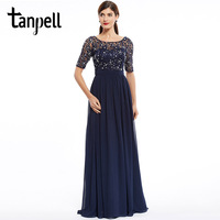 Tanpell Fashion Evening Dress Cheap Dark Navy Scoop A Line Floor Length Dress Chiffon Half Sleeves