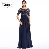 Tanpell Fashion Evening Dress Cheap Dark Navy Scoop A Line Floor Length Dress Chiffon Half Sleeves