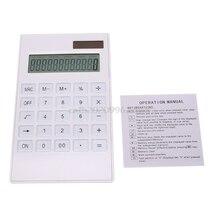 Калькулятор творческий Тонкий 12 Цифровой Dual Питание солнечной энергии хрустальный ключ калькулятор # H029 #