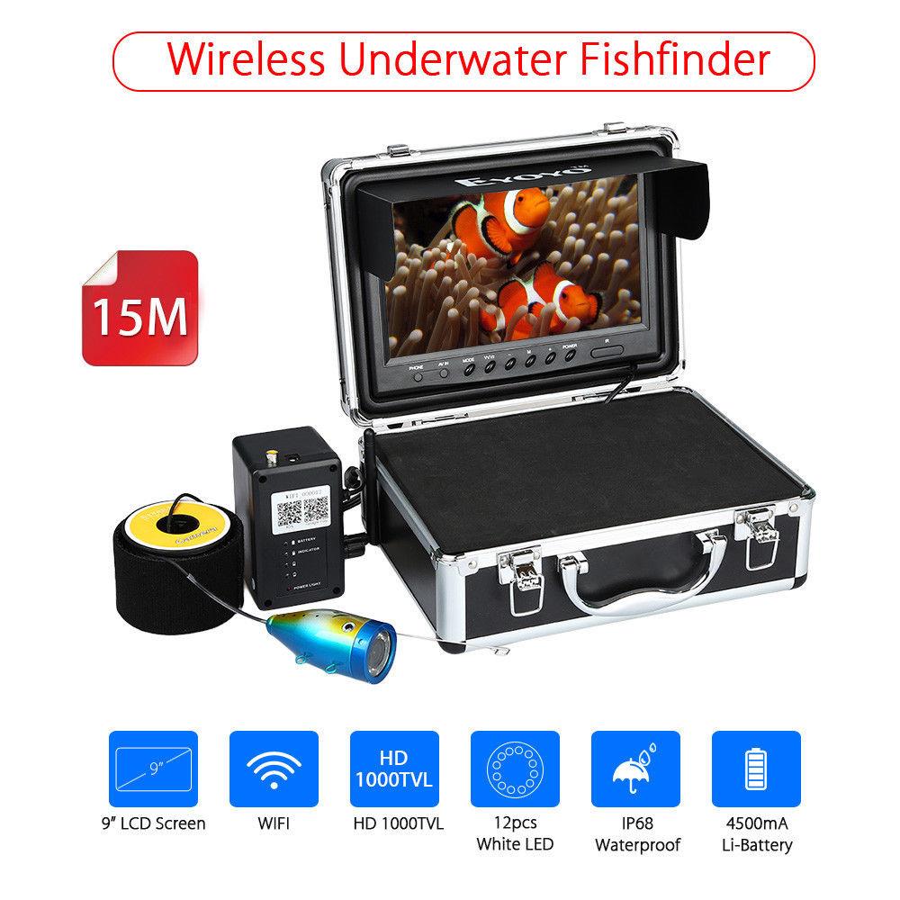 EYOYO 9WIFI Wireless Fish Finder White LED Underwater Ocean River Lake Boat Fishing Came ...