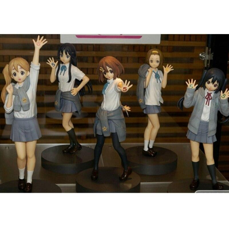 Hot Anime <font><b>K-on</b></font>! Hirasawa Yui Akiyama Mio Tainaka Ritsu Kotobuki Tsumugi Nakano Azusa 5th Anniversary PVC <font><b>Action</b></font> <font><b>Figure</b></font> Model Toy