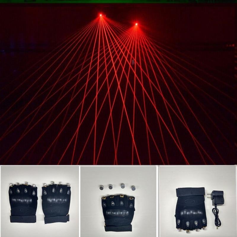 Nuevo llegado Rojo Loserman Show Gloves con 4 unids 532nm 80mw Rojo - Para fiestas y celebraciones