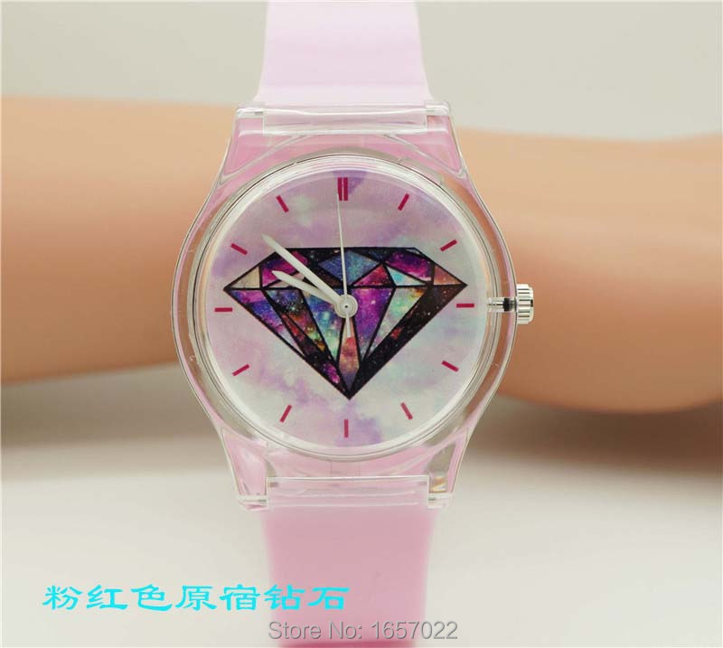 Luxury Brand Women High Quality Sky Face Quartz Wristwatch Promotion Student Colorful Plastic Dress Watch Imported Movement