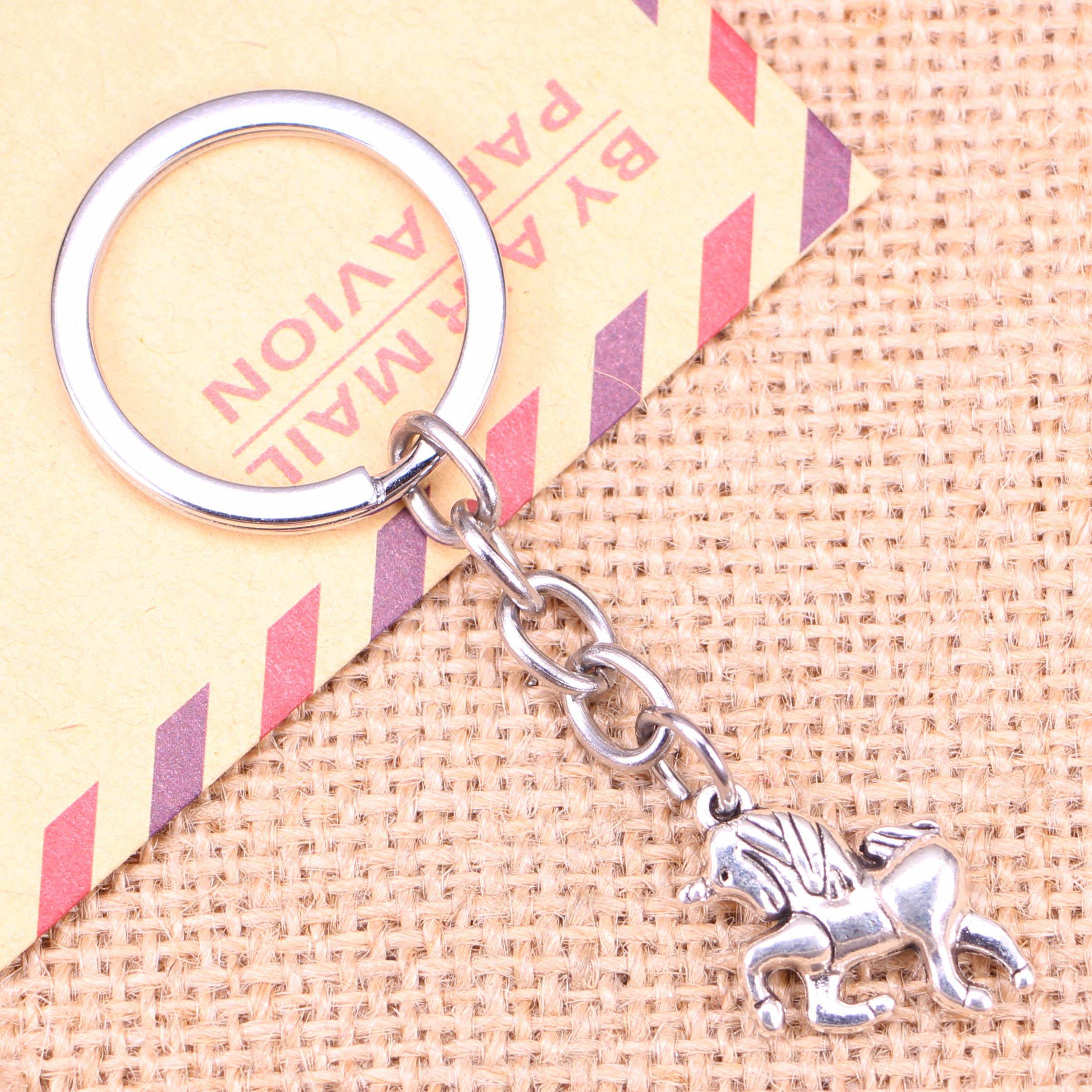 20 قطعة جديد أزياء المفاتيح 19x16 مللي متر الحصان يونيكورن المعلقات DIY الرجال مجوهرات سيارة مفتاح سلسلة حلقة حامل تذكارية ل هدية