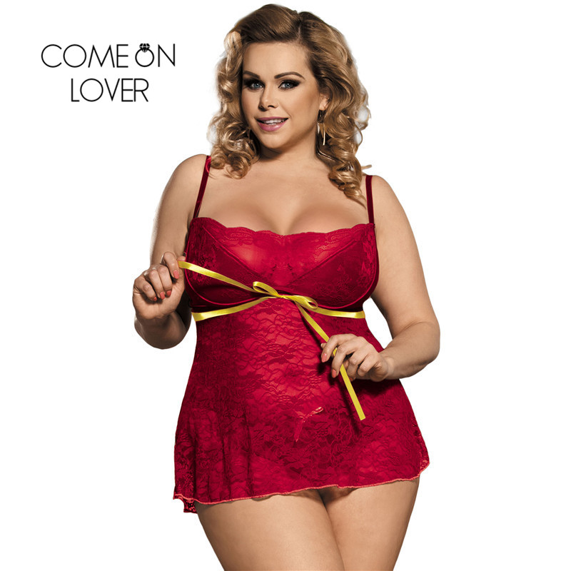 Comeonlover Women Plus Size Erotic Red Lingerie New Pron Sexy Lingerie Transparent Exotic Dress +G String Sexy Babydoll RI80247