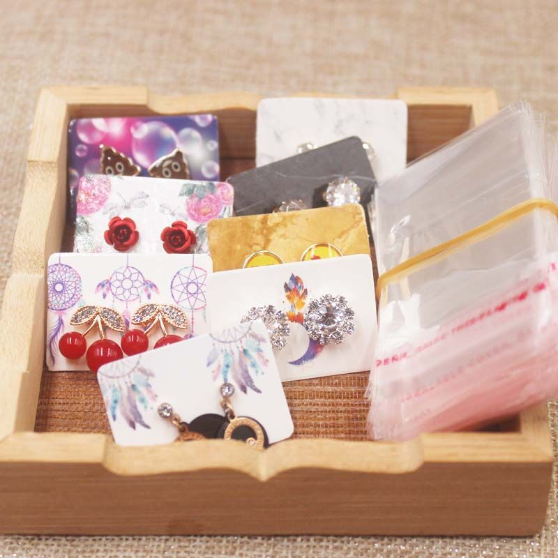 New Arrival Small Cute Stud Earring Package Tag Card Marble/flower/dreamcatcher Design Earring Package Card Tag 100pcs+100oppbag