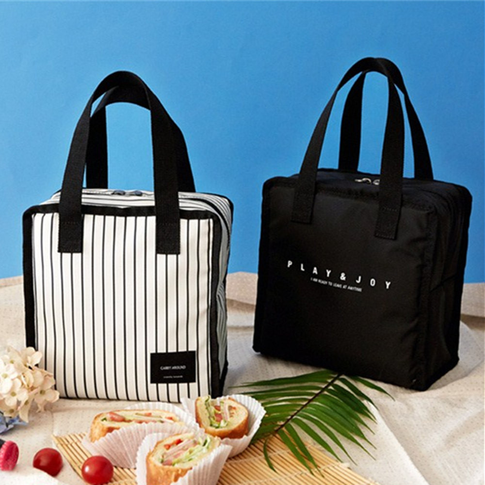 Portable Insulated Lunch Bag Picnic Food Storage Zipper Box Tote Bento Pouch Lunch Holder Storage Container