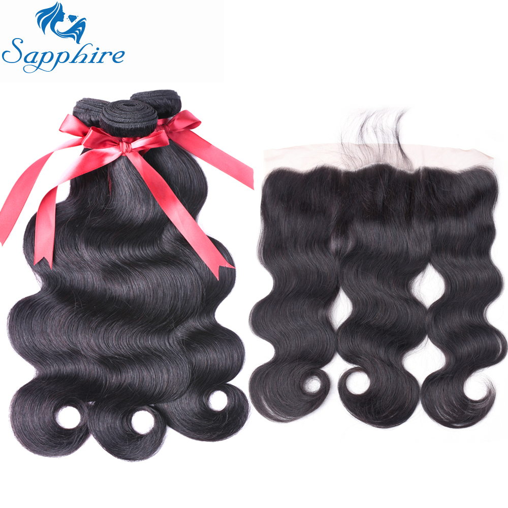 Sapphire Hair Brazilian Human Hair Weave 3 Bundles With Lace Closure Frontal Body Wave Human Hair Bundles With Frontal Closure