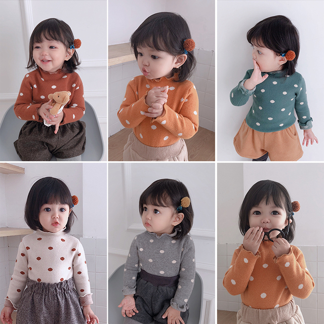 Girls Autumn And Winter Wave Point High Necked Sweater Toddler Baby Bottoming Shirt Child Girl Pullover