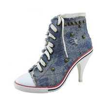 lace up high heel shoes casual women New brand denim heels rivet woman Frayed martin ankle footwear sex Wedge Canvas Shoes s366