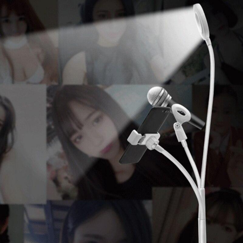 Support de téléphone de bureau réglable universel anneau de Selfie Flexible lumière Long bras clip de fixation de téléphone portable support paresseux bureau avec LED L