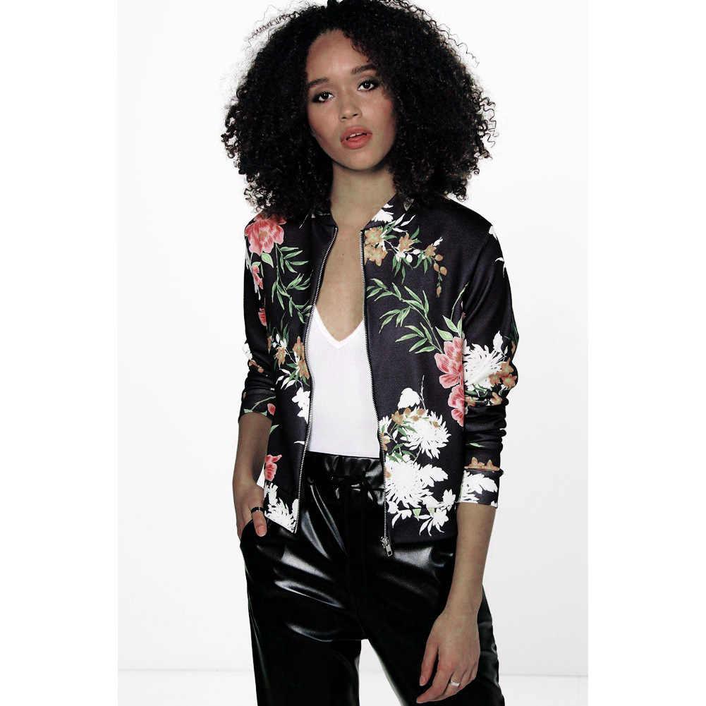 Kumeiya, Женская Ретро куртка с цветочным принтом, на молнии, куртка-бомбер с воротником, тонкое пальто, повседневная верхняя одежда, Женская Осенняя куртка, модные женские топы