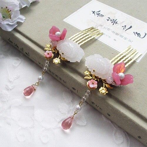ФОТО White Jade Lotus Pink Glaze Petal Pair of Hair Combs Costume Hanfu Hair Accessory Long Tassel Hair Comb for Women