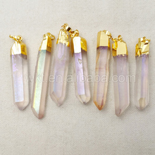 WT-P996 5pcs/lot Charm Angel Aura Quartz Pendant with 24k real gold plated,High quality quartz pendant natural stone jewelry