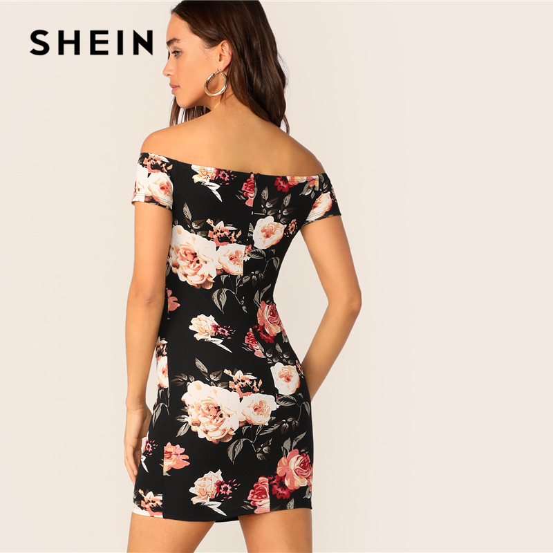 Image 2 - SHEIN Flower Print Bardot Pencil Dress Black Off the Shoulder Slim Women Summer Dress 2019 Sexy Cap Sleeve Bodycon Dresses-in Dresses from Women's Clothing