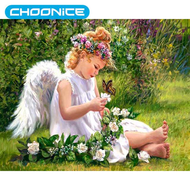 Baby Angel Paintings Diamond Painting Rose Butterfly Angel Flower Garden  Grass A Picture Of Rhinestones Coloring