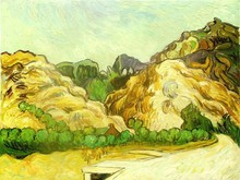 Art Mountains at St. Remy with Dark Cottage by Vincent Van Gogh Handpainted
